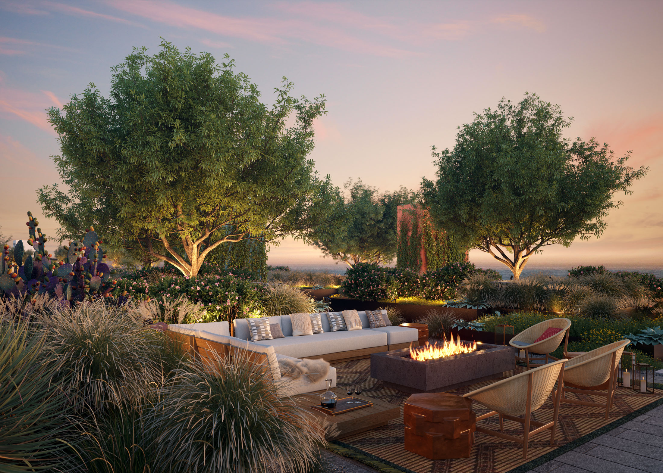 Architectural Rendering of the rooftop of The Park building project located in Santa Monica, California